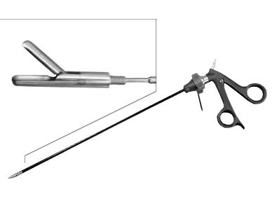 Комплект для хирургии, состоящий из рукоятки, трубки и щипцов для биопсии.